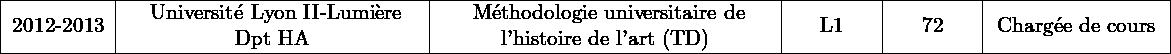\begin{tabular}{ c M{5.3cm} M{6cm} M{1.4cm} M{1.4cm} M{3cm} }\hline2012-2013&\ Université Lyon II-Lumière Dpt HA&\ Méthodologie universitaire de l'histoire de l'art (TD)&L1&\hdcours{72}&Chargée de cours\\\hline\end{tabular}